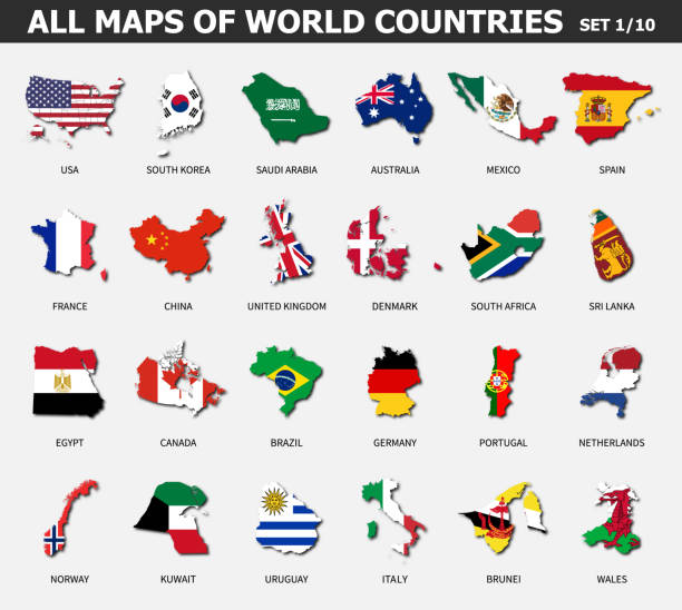 All maps of world countries and flags . Set 1 of 10 . Collection of outline shape of international country map with shadow . Flat design . Vector . vector art illustration