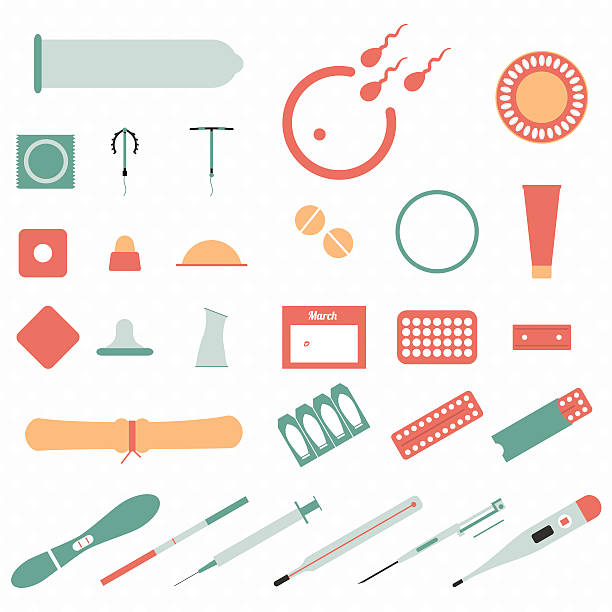 all modern types and contraception methods. icons. - family planning stock illustrations, clip art, cartoons, & icons