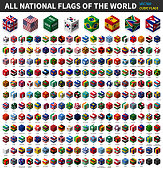 All national flag of the world . Cubic isometric top design . Vector