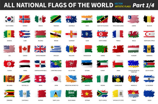All national flags of the world . Artistic watercolor painting flat design . Part 1 of 4 . vector art illustration