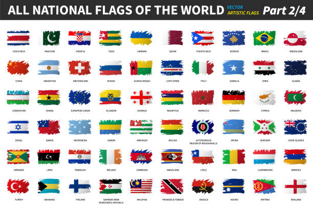 All national flags of the world . Artistic watercolor painting flat design . Part 2 of 4 . vector art illustration