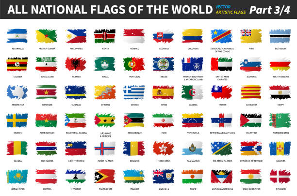 All national flags of the world . Artistic watercolor painting flat design . Part 3 of 4 . vector art illustration