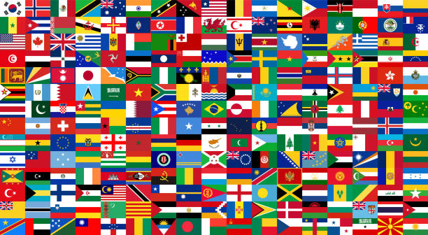 All national flags of the world . Background style vector art illustration