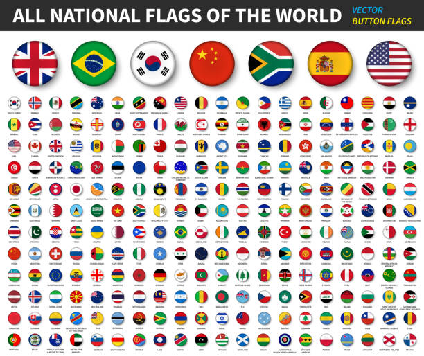 All national flags of the world . Convex button flag design . White isolated background . Element vector . vector art illustration
