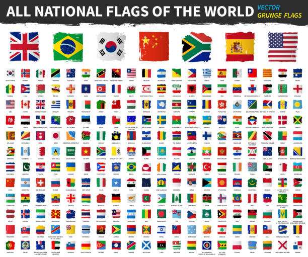 All national flags of the world . Grunge square shape watercolor painting flag design . White isolated background . Element vector . vector art illustration