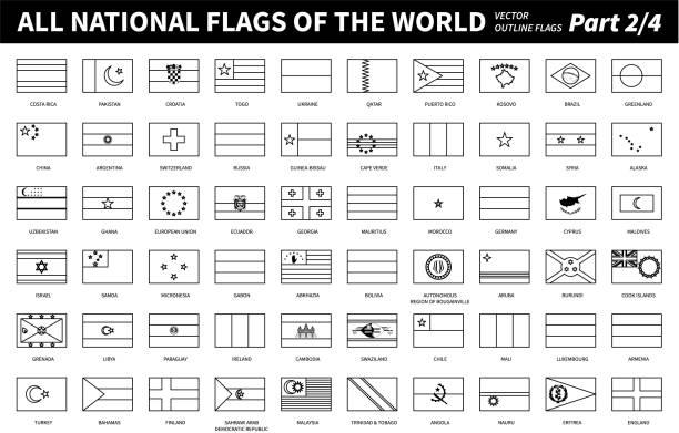 All national flags of the world . Outline shape design . Editable stroke vector . Part 2 of 4 . vector art illustration