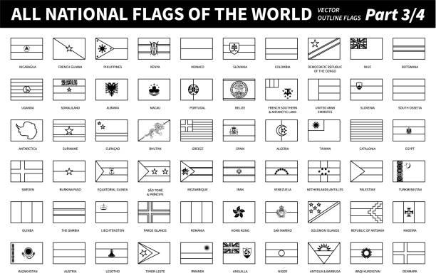 All national flags of the world . Outline shape design . Editable stroke vector . Part 3 of 4 . vector art illustration