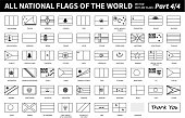 All national flags of the world . Outline shape design . Editable stroke vector . Part 4 of 4 ( complete )