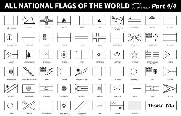 All national flags of the world . Outline shape design . Editable stroke vector . Part 4 of 4 ( complete ) vector art illustration