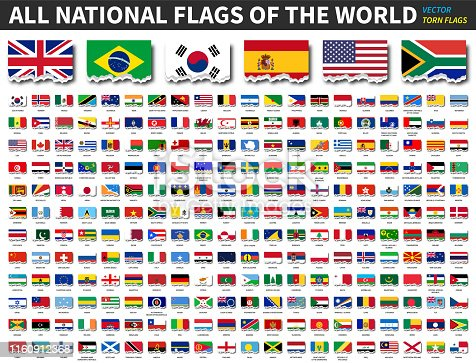 All national flags of the world . Torn paper design . Vector