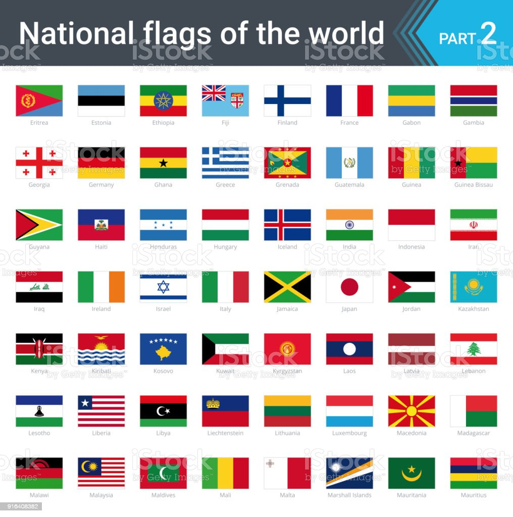 Alle Nationalflaggen Der Welt Mit Namen Hochwertige Vektor Flagge