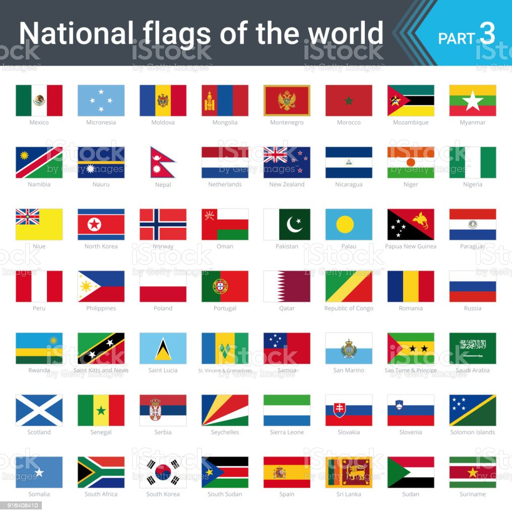 All National Flags Of The World With Names High Quality Vector Flag