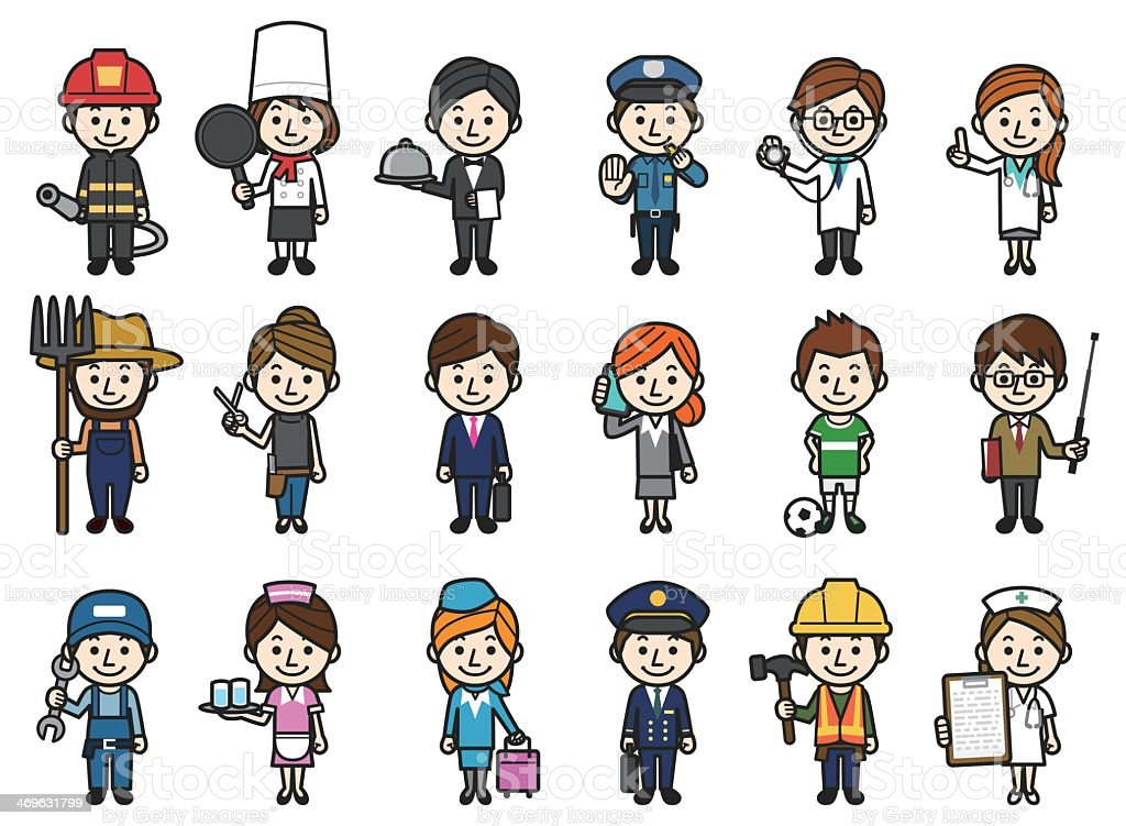 All occupations accompanied in one picture vector art illustration