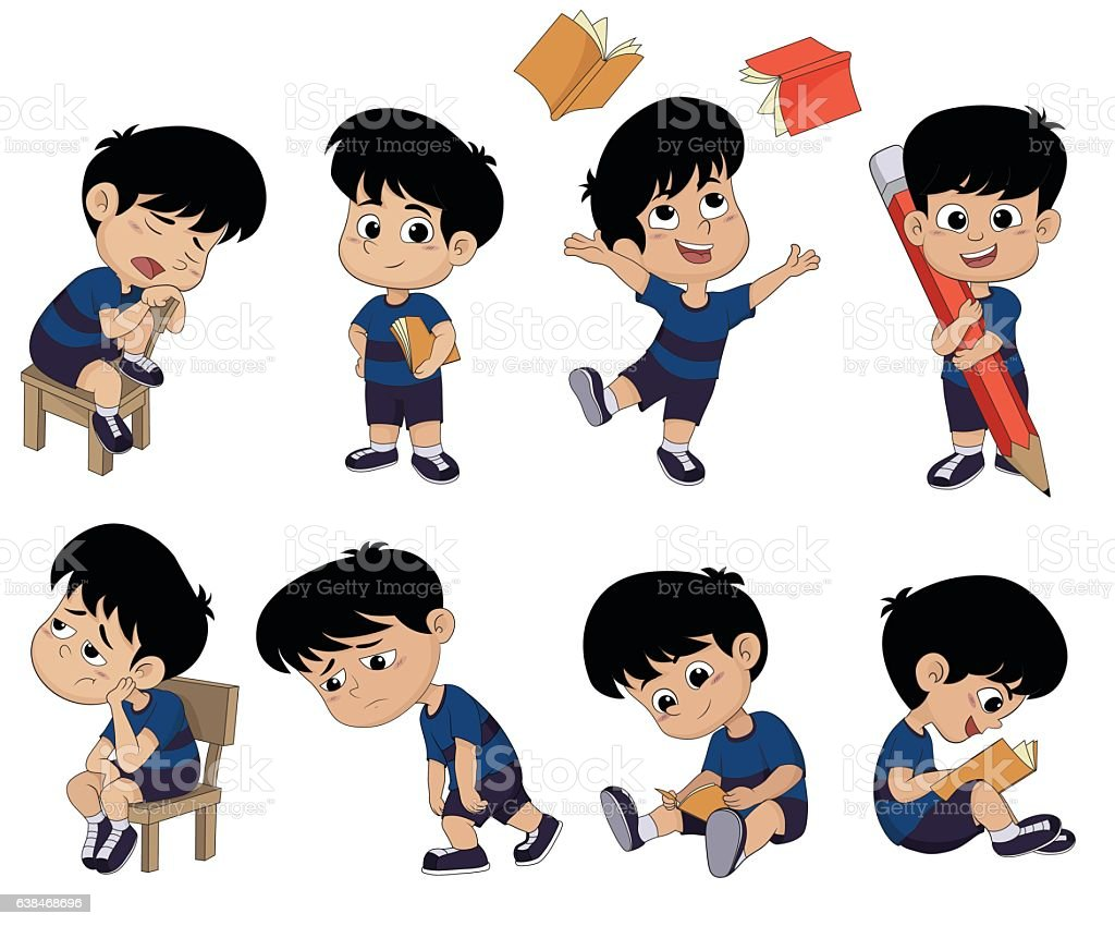 All of kids different pose about learning.back to school. vector art illustration