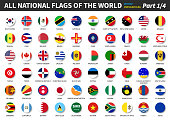 All official national flags of the world . circular design . Vector . Part 1 of 4 .