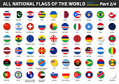 All official national flags of the world . circular design . Vector . Part 2 of 4 .