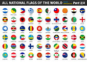 All official national flags of the world . circular design . Vector . Part 3 of 4 .