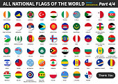 All official national flags of the world . circular design . Vector . Part 4 of 4 ( complete )