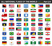All official national flags of the world . Formal design . Vector . Part 2 of 4 .
