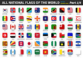 All official national flags of the world . Square design . Vector . Part 1 of 4 .