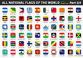 All official national flags of the world . Square design . Vector . Part 3 of 4 .