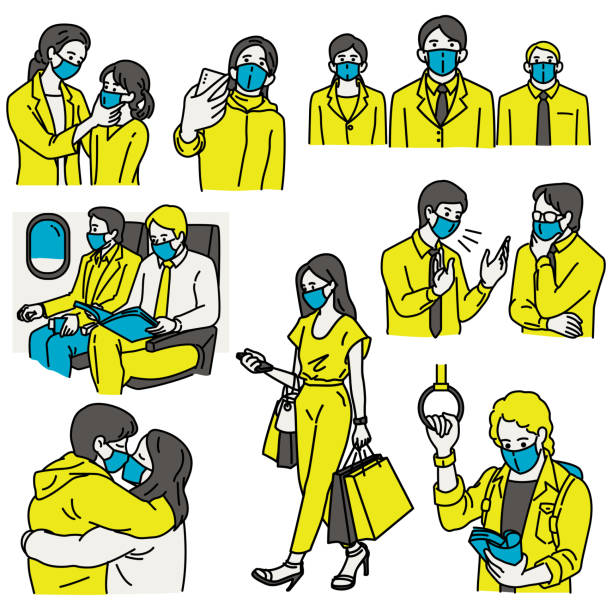 ilustrações de stock, clip art, desenhos animados e ícones de all people wearing masks - covid flight