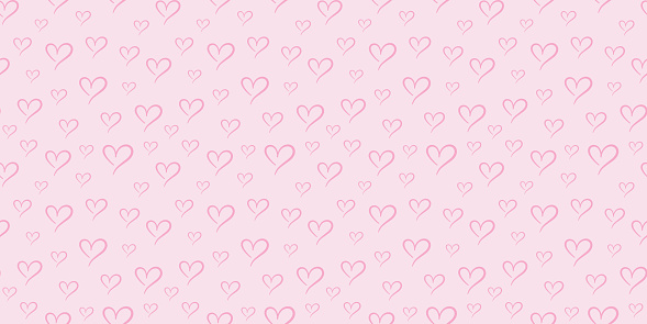 All pink hearts seamless repeat pattern vector background.