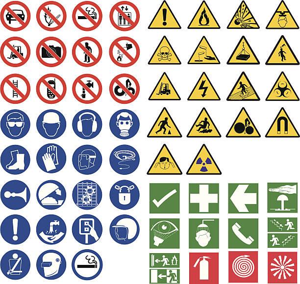 bildbanksillustrationer, clip art samt tecknat material och ikoner med all safety signsall safety signs - fire alarm