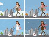 Woman walking dog in 4 seasons.
