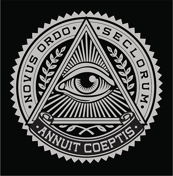 эмблема all seeing eye - freemasons stock illustrations