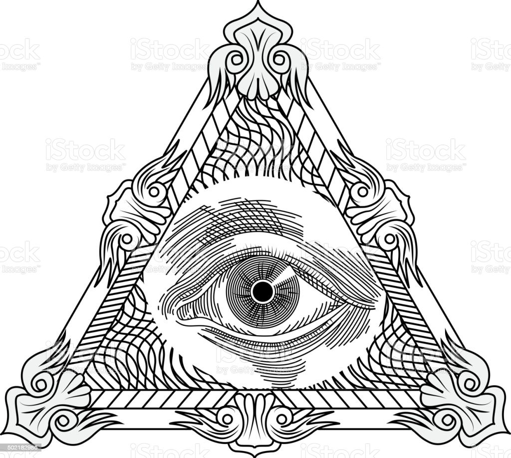 All Seeing Eye Engraving Tattoo Style Stock Vector Art