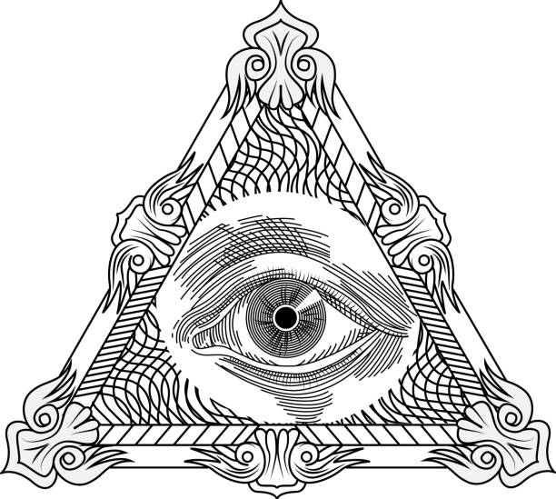 all seeing eye tattoo, гравировка стиль. - freemasons stock illustrations