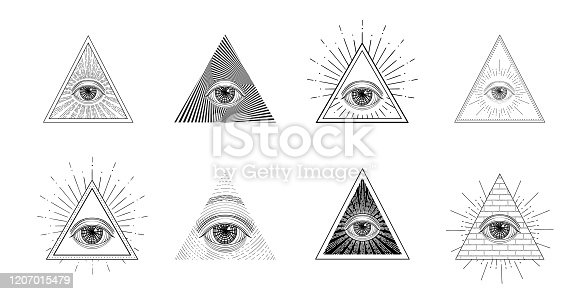 All seeing eye vector set, freemason symbol in triangle with light ray, tattoo design isolated on white background