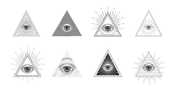 all seeing eye, freemason symbol in triangle with light ray, tattoo design - freemasons stock illustrations