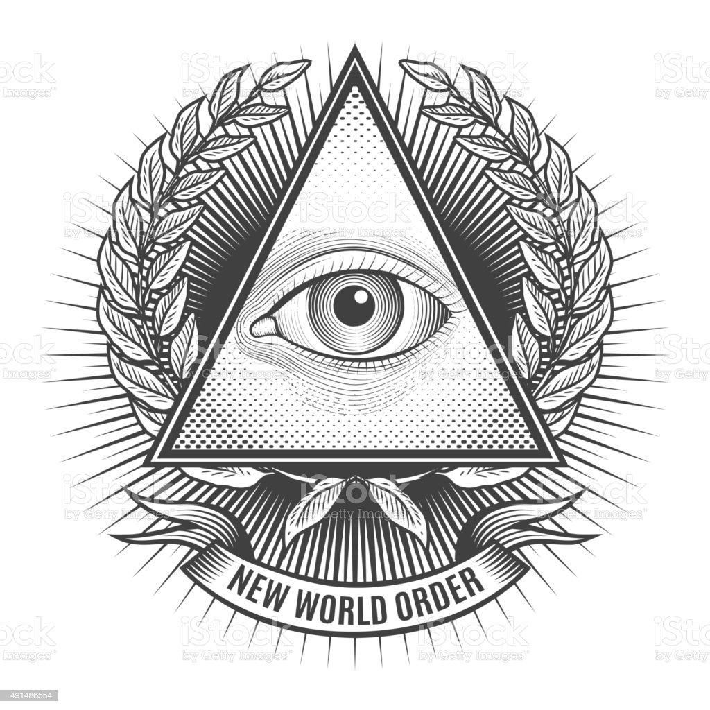 All seeing eye in delta triangle vector art illustration