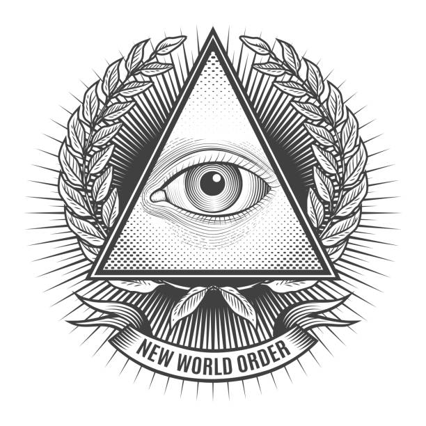 all seeing eye в delta с треугольными чашечками - freemasons stock illustrations
