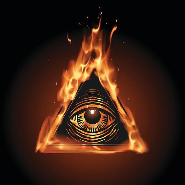stockillustraties, clipart, cartoons en iconen met all seeing eye in flame - new world