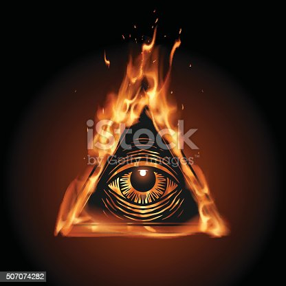 All Seeing Eye In Flame Stock Vector Art More Images Of Alertness
