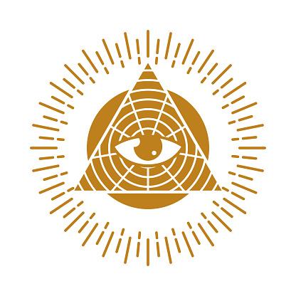 All Seeing Eye in Geometry Triangle Masonry and Illuminati Symbol