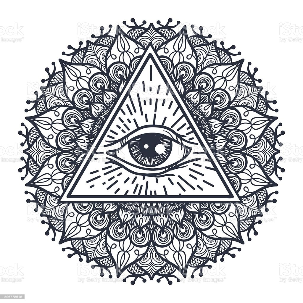 All Seeing Eye In Triangle And Mandal Stock Vektor Art und mehr