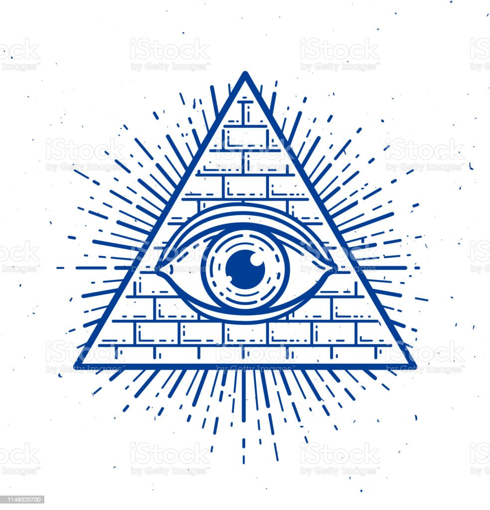All Seeing Eye Of God In Sacred Geometry Triangle Masonry And Illuminati  Symbol Vector Emblem Design Element Stock Illustration - Download Image Now