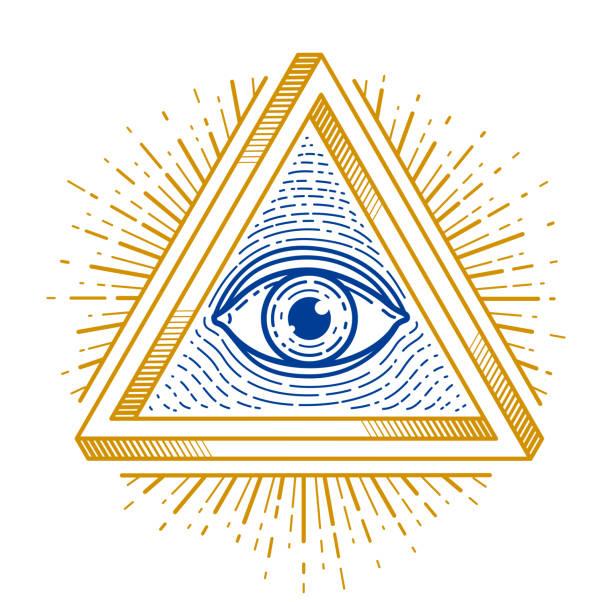 all seeing eye of god in sacred geometry triangle, masonry and illuminati symbol, vector emblem design element. - lodge member stock illustrations