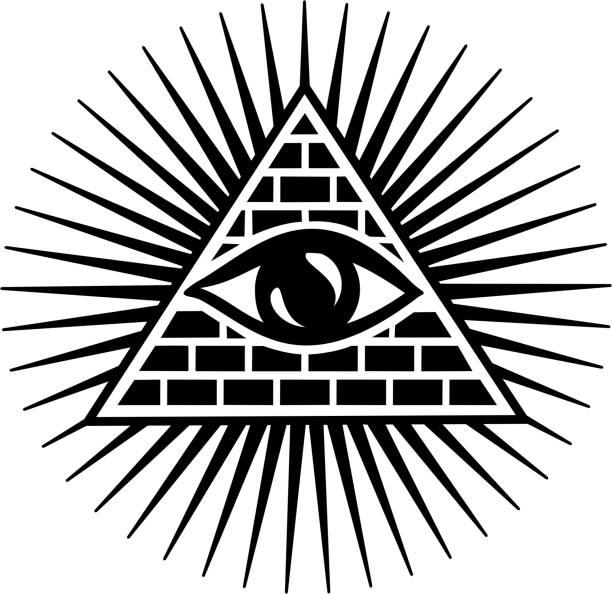 all seeing eye/провинция/пирамида/бог - третье око stock illustrations