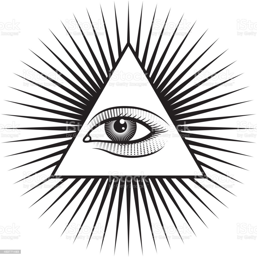 All Seeing Eye Pyramid On White Background Royalty Free