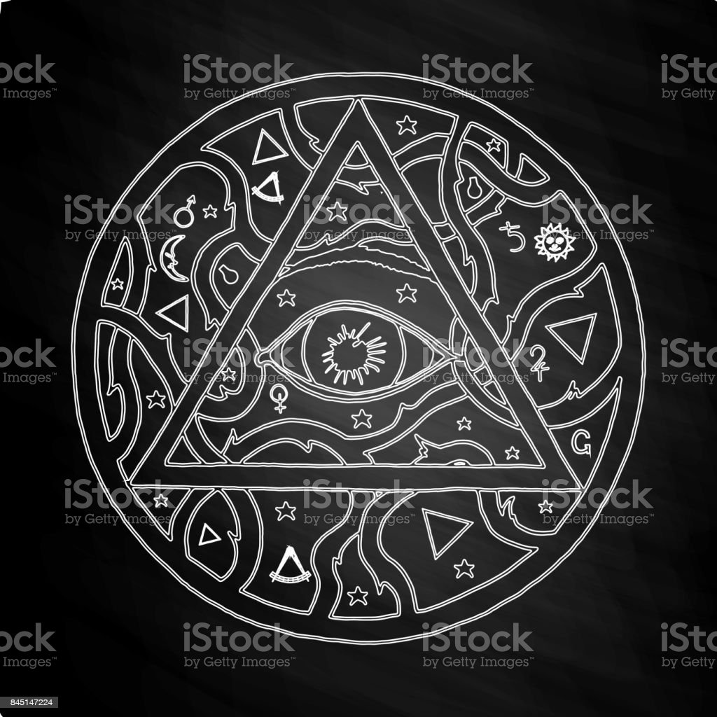 All Seeing Eye Pyramid Symbol In Tattoo Design On Chalkboard Stock Illustration Download Image Now Istock