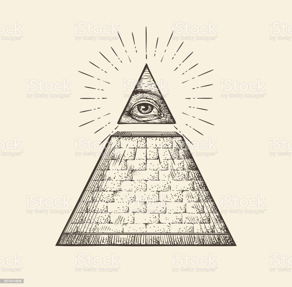 All Seeing Eye Pyramid Symbol New World Order Hand Drawn Royalty Free
