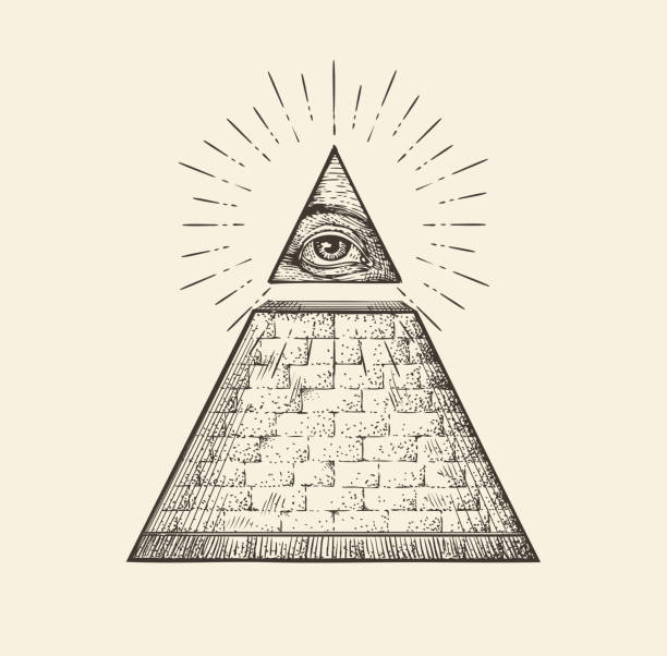 all seeing eye pyramid symbol. new world order. hand drawn - freemasons stock illustrations