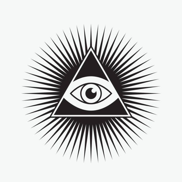 all seeing eye символ, форма звезды - freemasons stock illustrations