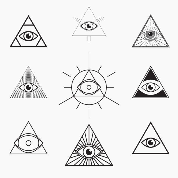 all seeing eye symbol - conspiracy stock illustrations