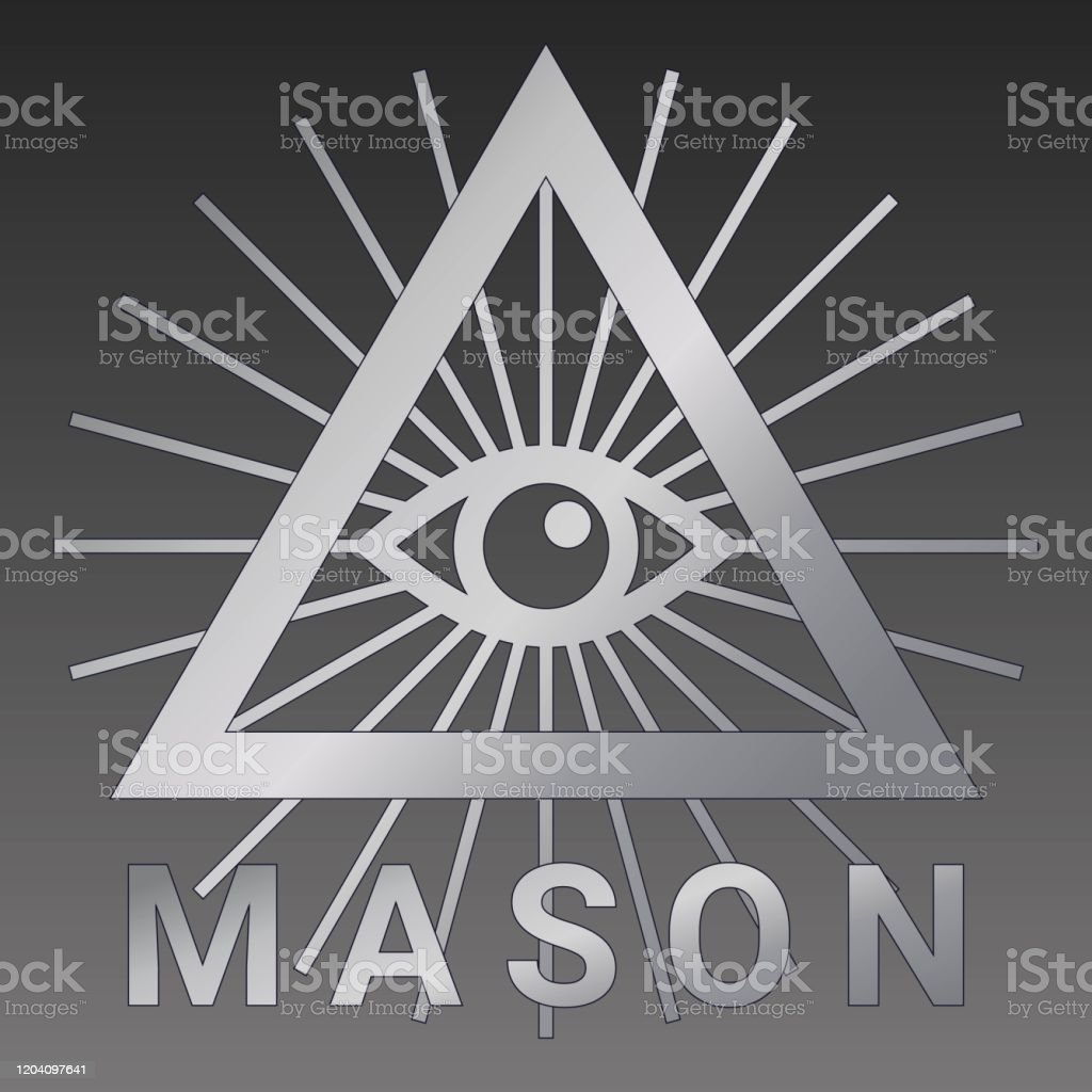 すべての目を見て。フリーメーソンのシンボルは三角形の中の神の目です - アイコンのロイヤリティフリーベクトルアート